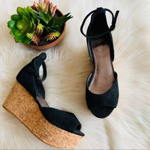 Charles by Charles David | Black Open Toe Wedges 8